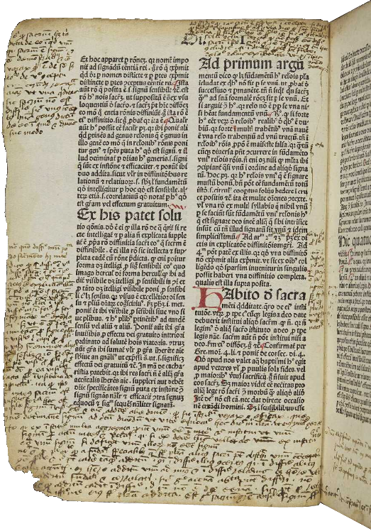 A heavily annotated page from DCL Inc. 21b, Duns Scotus' Commentary on Peter Lombard's Sentences