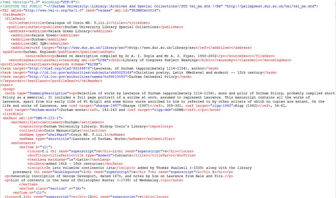 Example of TEI XML manuscript catalogue