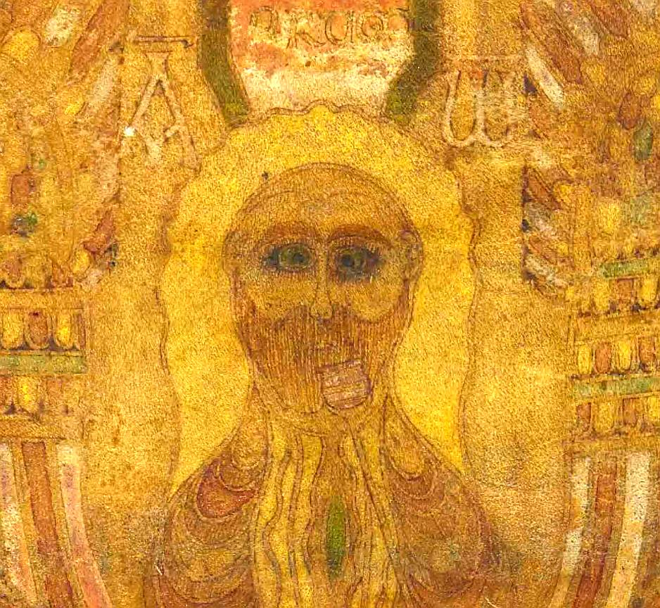 Image - detail of head of Christ on the cross - Durham Gospels f.38v3