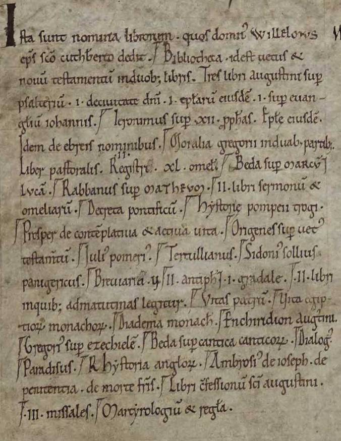 List of books donated by William of St Calais, in the hand of Symeon of Durham