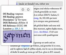 example entry from online dictionary of Old English