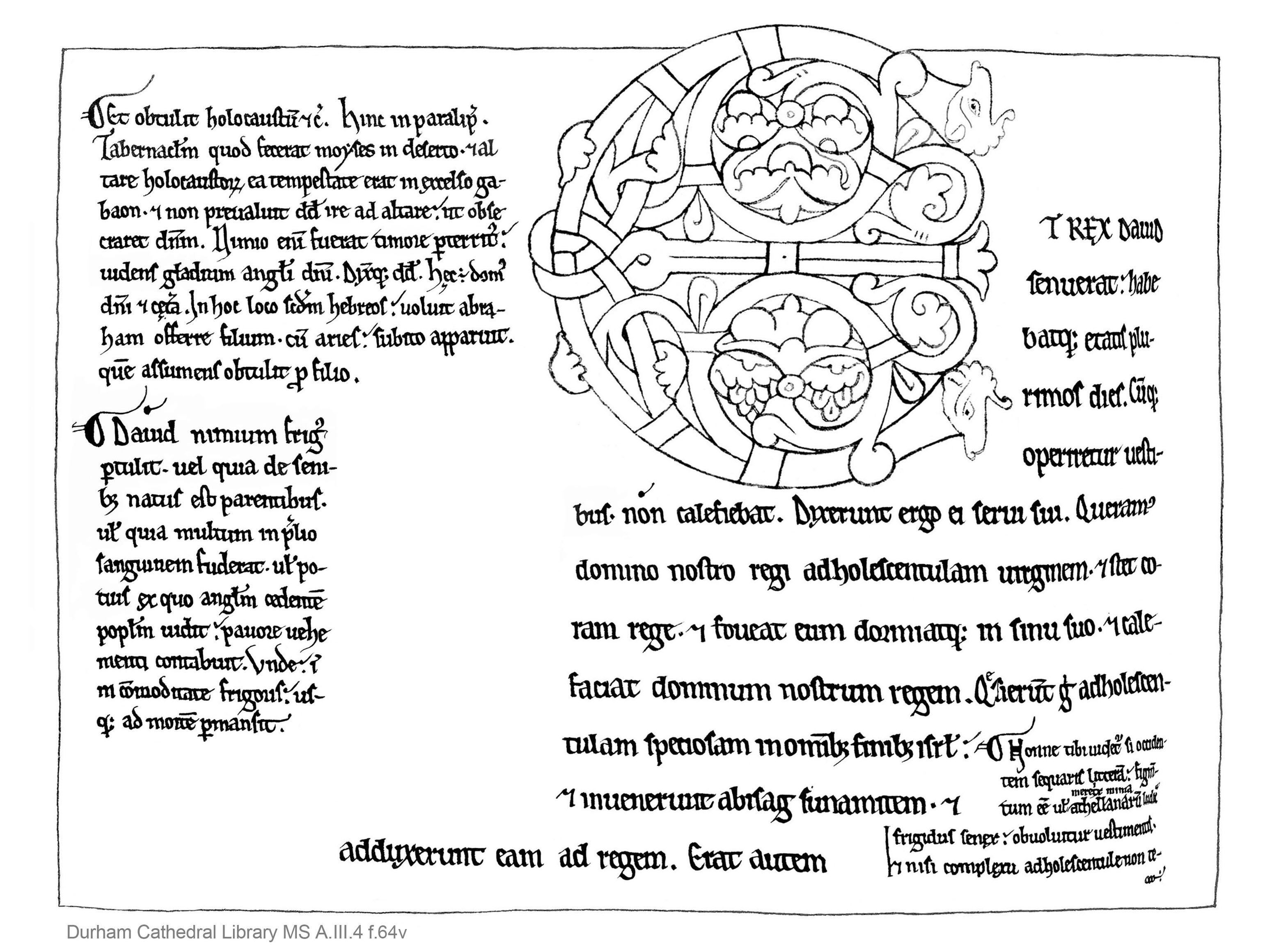 Durham Cathedral Library MS A.III.4 f.64v colouring book style, A4