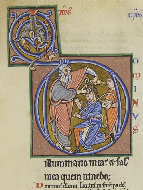 Durham Cathedral Library MS A.II.9 f.63r, Samuel anointing David
