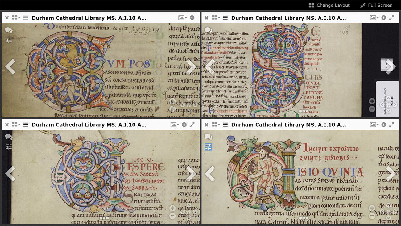 Four similar letters from Durham Cathedral Library MS A.I.10 Anselm, Berengaudus, Cassiodorus