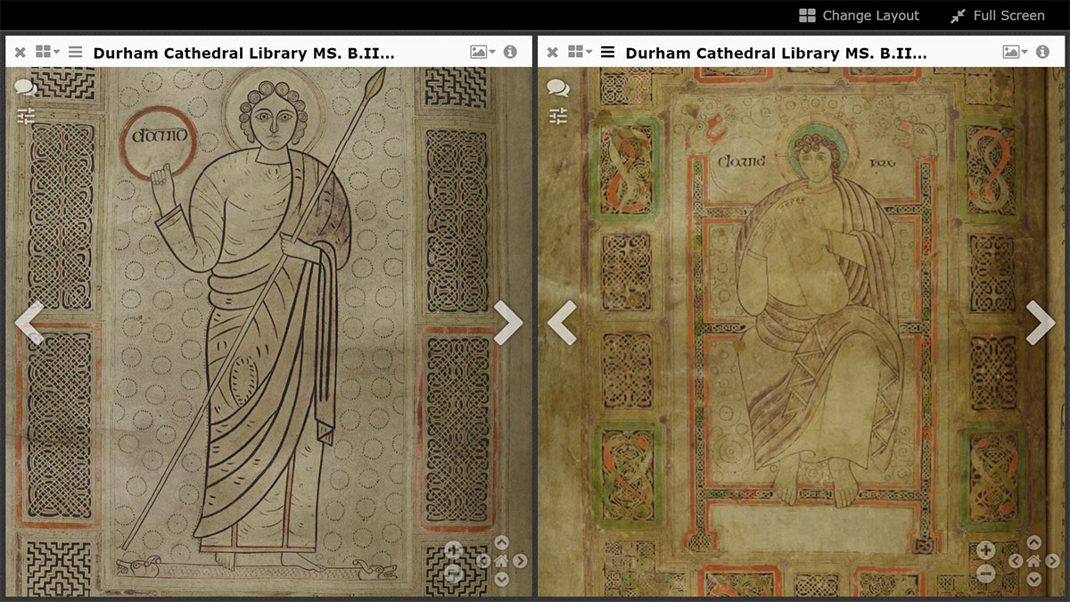 Durham Cathedral Library MS B.II.30 - the two Davids (on f.172v and f.81v) side by side