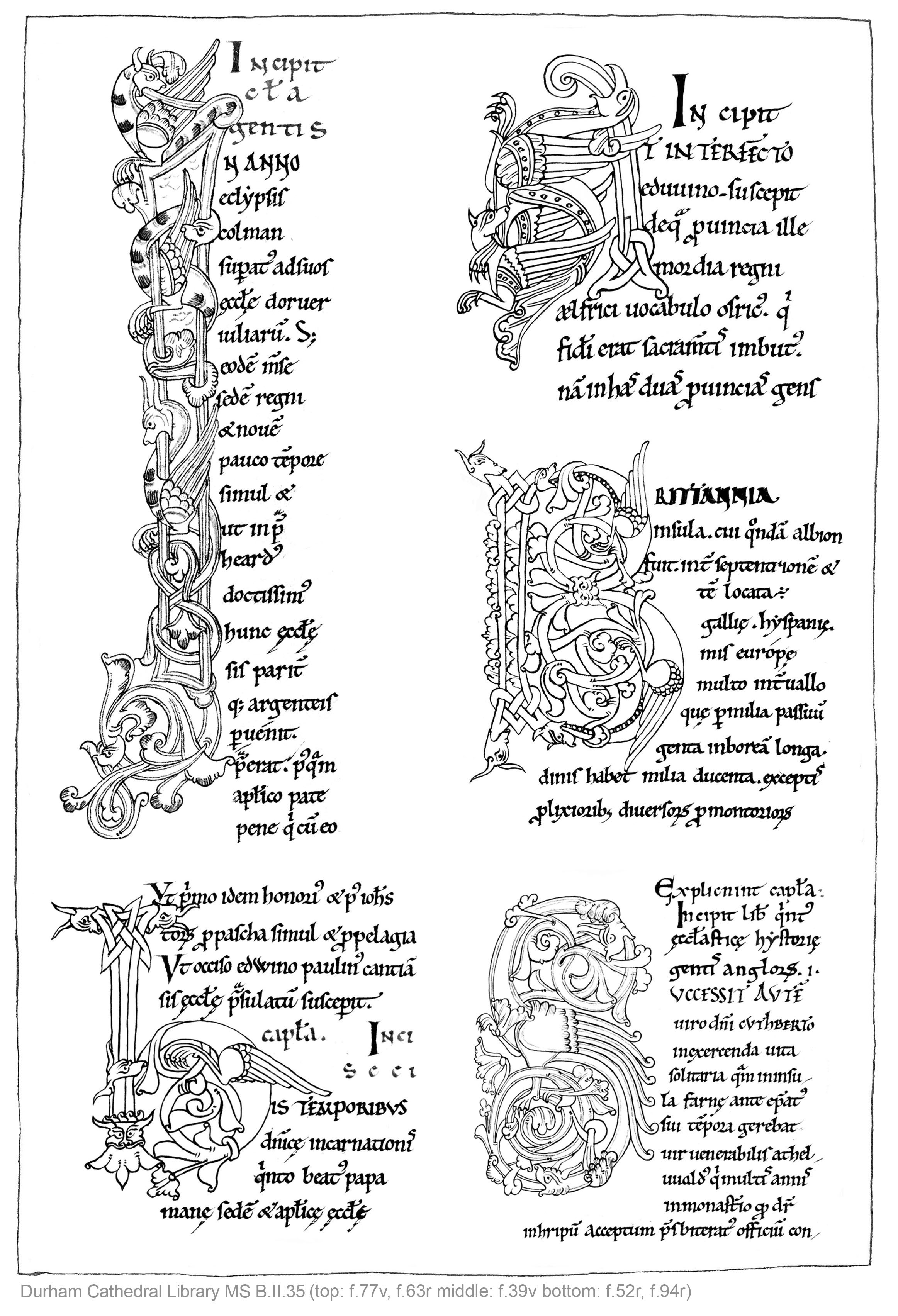 Durham Cathedral Library MS. B.II.35, five letters, A4