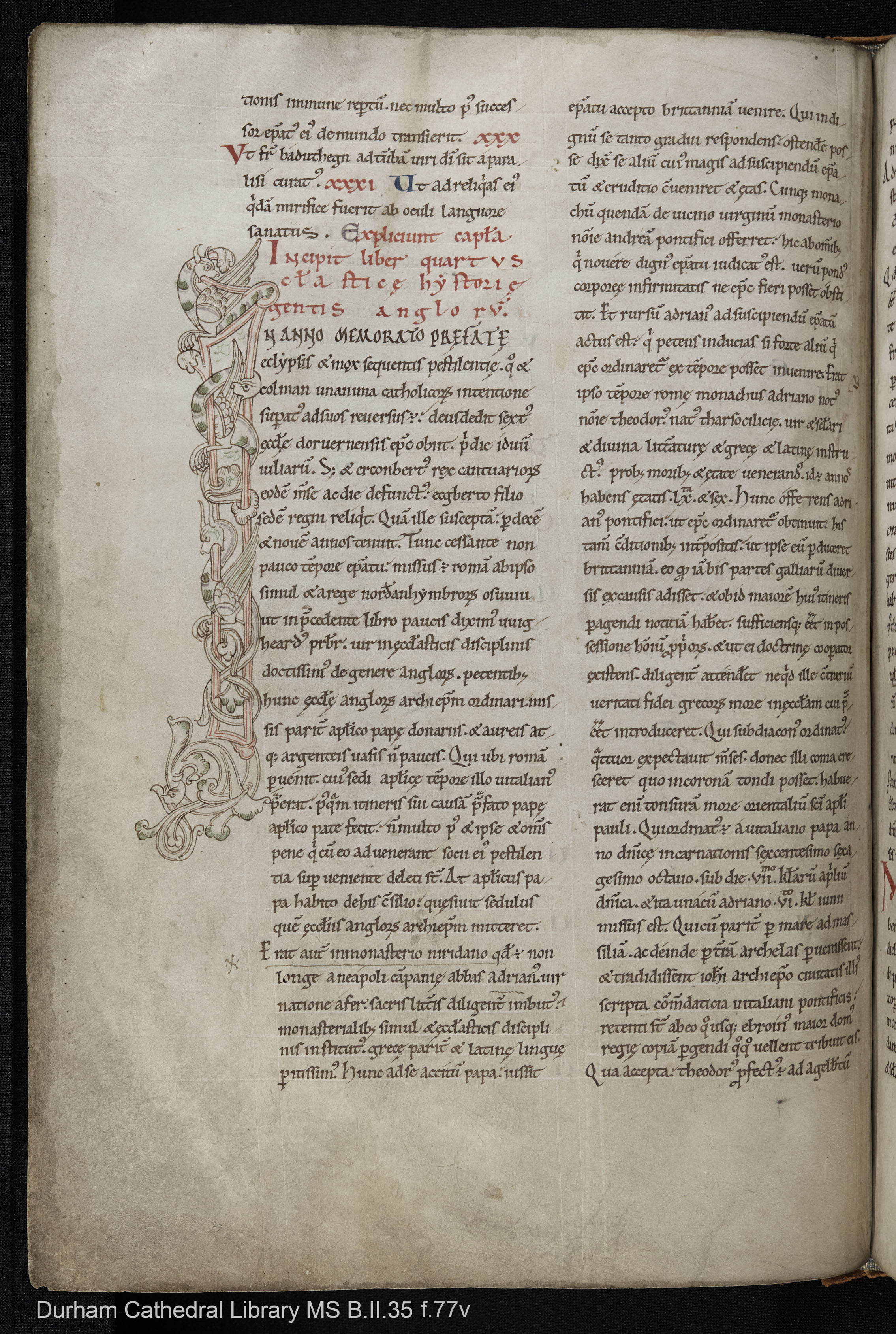 Durham Cathedral Library MS. B.II.35 f.77v, full page