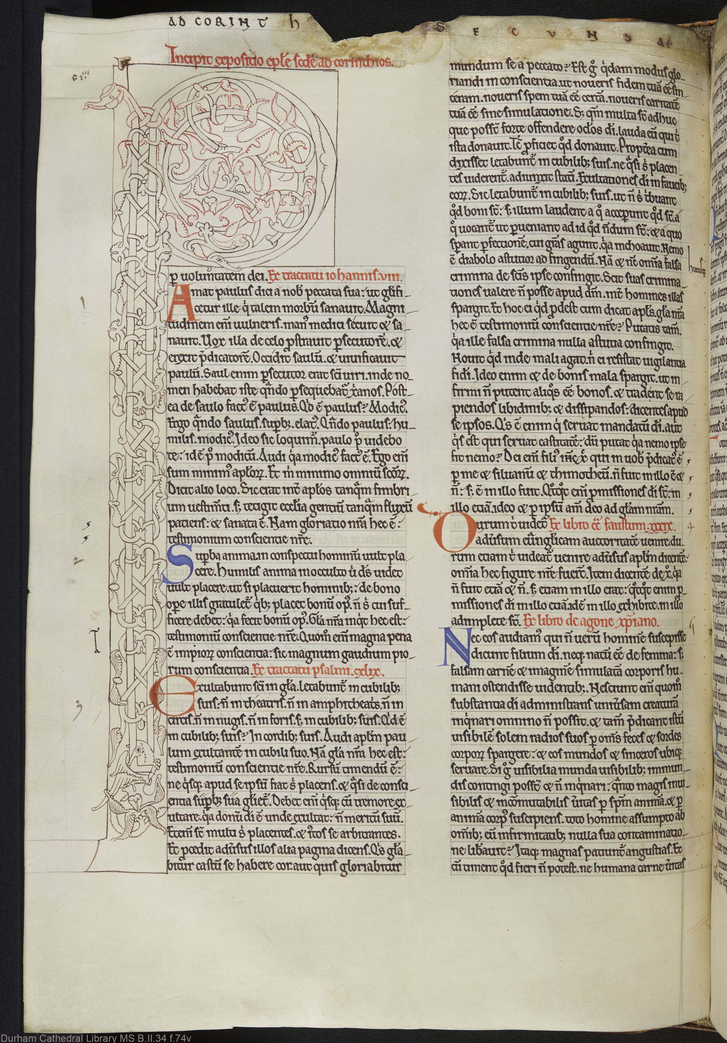 Durham Cathedral Library, UK, MS B.II.34 f.74v, full page, A4